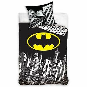 Batman-Gotham-Ville-Housse-Couette-Simple-Set-Europeen-100-Coton-2-IN-1-Design