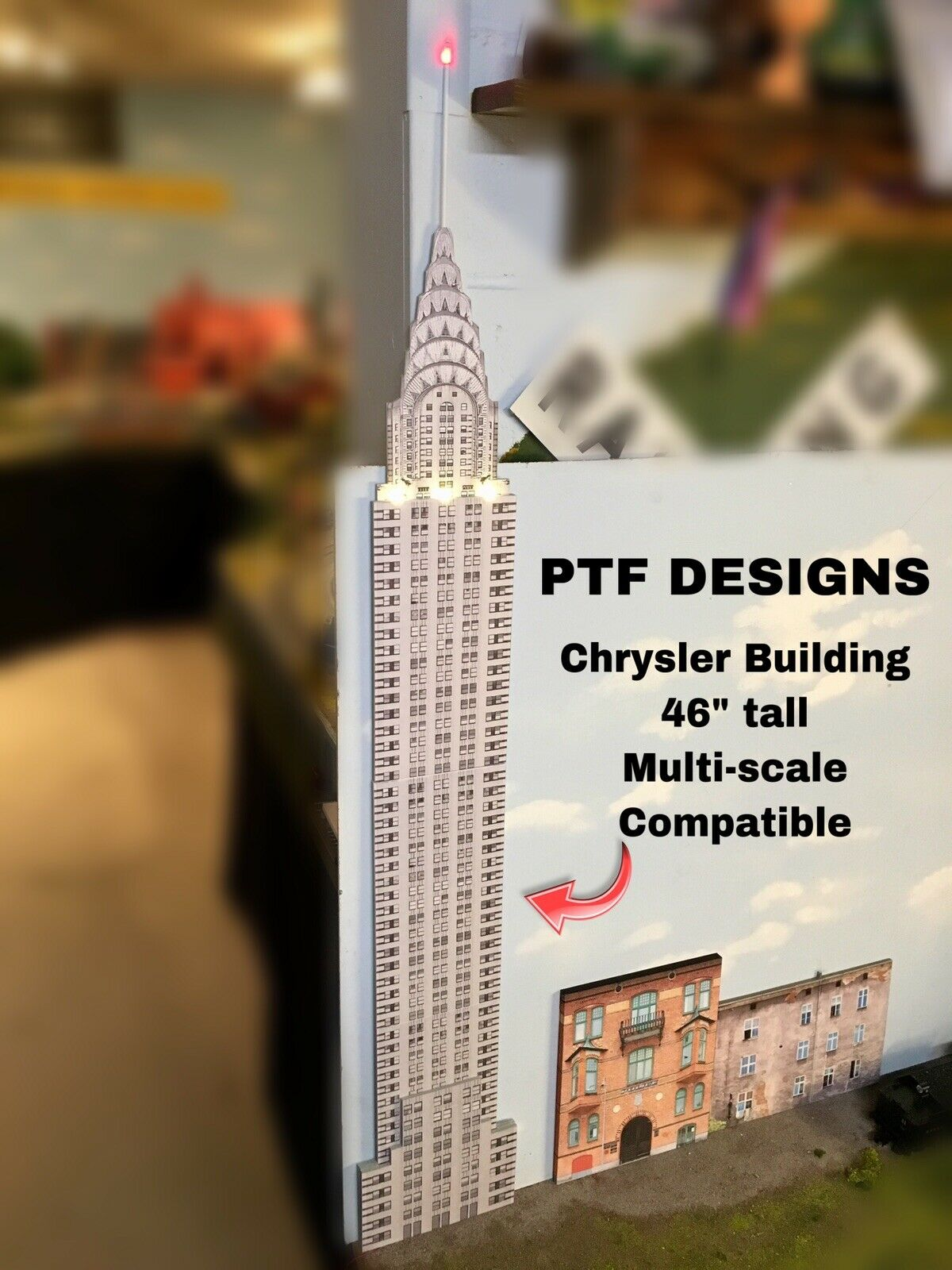 O Scale- Chrysler Building - Scratch Built Skyscraper Flat w  LED Lionel MTH