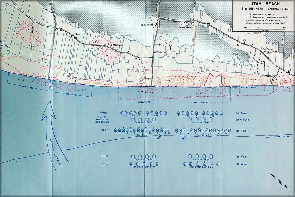 Plakat, Viele Größen; Utah Strand 8ter Infanterie Treppenabsatz Plan