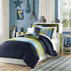 full size comforter set boys 4 piece navy blue green striped bedding