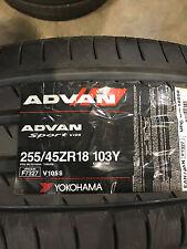 4 New 255 45 18 Yokohama Advan Sport V105 Tires