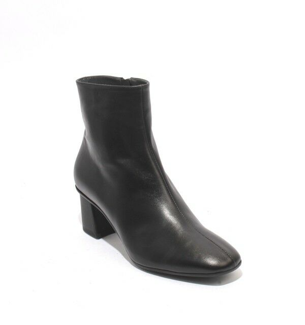 Gibellieri 89 Black Leather   Zip-Up Ankle Heel Boots 37.5   US 7.5