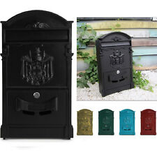Large Vintage Outdoor Lockable Letter Post Box Mailbox Wall Mounted Secure Mail