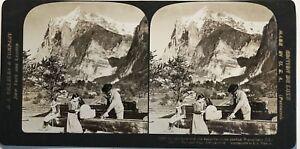 éNergique Grindelwald Wetterhorn Suisse Photographie Stereo Vintage Citrate Gamme ComplèTe D'Articles