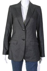 Calvin Klein Womens Two Button Notched Collar Blazer Dark Gray Size 10 Petite