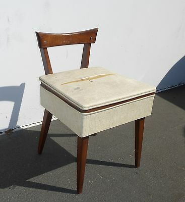 Vintage Danish Mid Century Modern Wood Sewing Chair w Seat ...