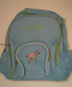 Pottery Barn Kids Fairfax Large Blue Backpack Horse Patch