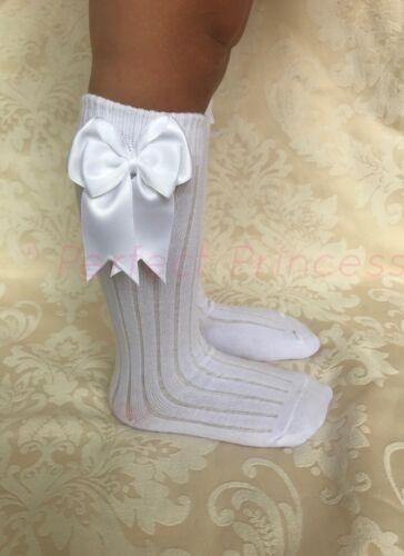 SPAGNOLO Romany per neonate A Coste Doppio Fiocco Al Ginocchio Calzini School Uniform