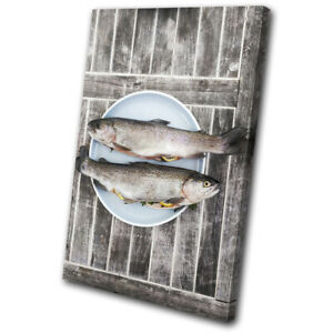 Fish-Seafood-Sea-Fresh-Food-Kitchen-SINGLE-CANVAS-WALL-ART-Picture-Print