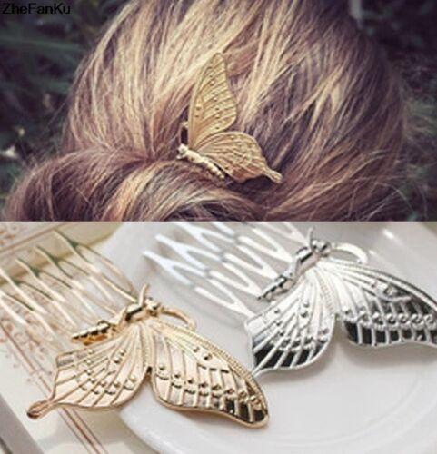 2 Pièces-Papillon Chic Cheveux Peigne argent ou or Couleur