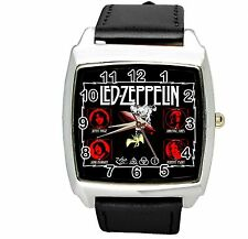 LED ZEPPELIN BLACK LEATHER MUSIC KING LEGEND BAND SQUARE CD STEEL ROCK WATCH