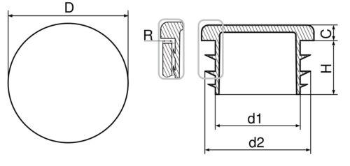 Fußstopfen 10-90mm rund Schwarz Grau Weiß Möbelgleiter Möbelkappen Beinkappen