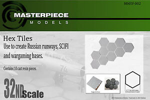 hexagon tiles for Sci fi and Russian tarmac dioramas/ bases 1/32nd scale