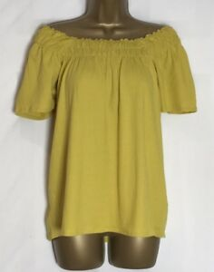 M-amp-S-Mustard-Yellow-Cotton-Mix-Stretch-Bardot-Top-Size-10-22-New-ms-270h
