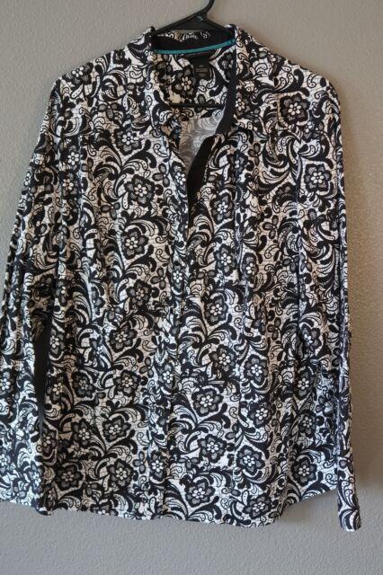 SALE: Womens top blouse shirt size 22W Lane Bryant black/white stretch floral