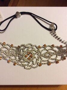 $75 Betsey Johnson Silver tone Crystal & Rose Headband