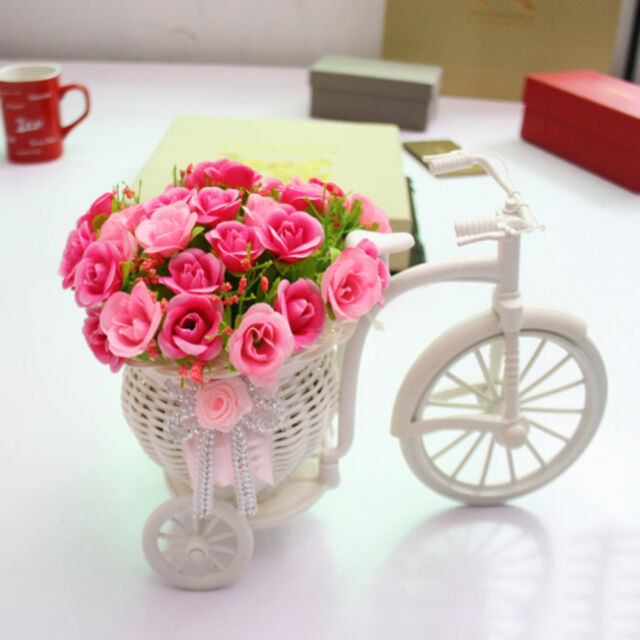 1X Plastic White Tricycle Bike Design Flower Basket Storage Party Decoration lc