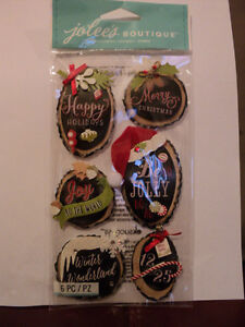 EK SUCCESS JOLEE S BOUTIQUE HOLIDAY RINGS DIMENSIONAL STICKERS BNIP ... 959338ad1f1a