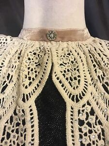 Vintage style Jabot Victorian collar clevage cover lace lolita gothic bib New