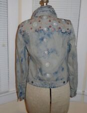 AEO AE Floral Embroidered Bleach Washed Denim Trucker Jean Jacket Womens Small