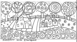 RUG-HOOK-CRAFT-PAPER-PATTERN-Blooming-Farm-FOLK-ART-PRIMITIVE-Karla-Gerard