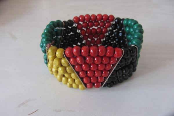 Sinnvoll Afrikanisches Rasta Armband Perlen Rot Gelb Grün Handarbeit Kamerun