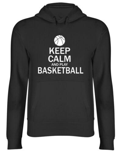 Mantieni la calma e giocare a basket Felpa con Cappuccio da Uomo Donna Unisex Felpa Con Cappuccio