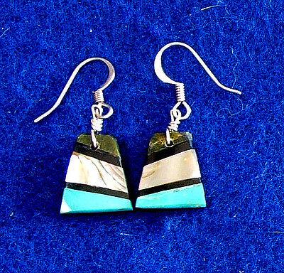 Semi Precious Stone Inlay Earrings Sterling Silver Pueblo Native American 07