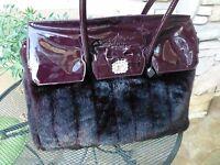 Brighton Pasha Faux Fur Xl Tote/overnight Bag/ Handbag