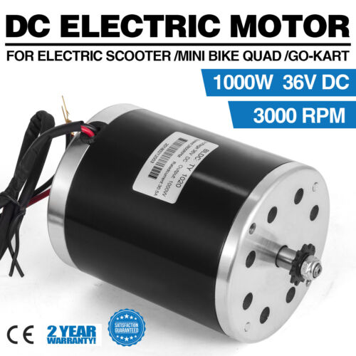 1000W Electric Motor 36V DC  E-Scooter TY1020 3000 RPM Chain Go-Kart Reversible