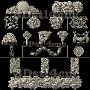 20-Plus-3D-STL-Models-Flower-Decor-for-CNC-Router-Carving-Machine-Artcam-aspire