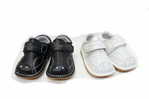 Luna Shoes Baby Black White Genuine Leather Single Strap ...