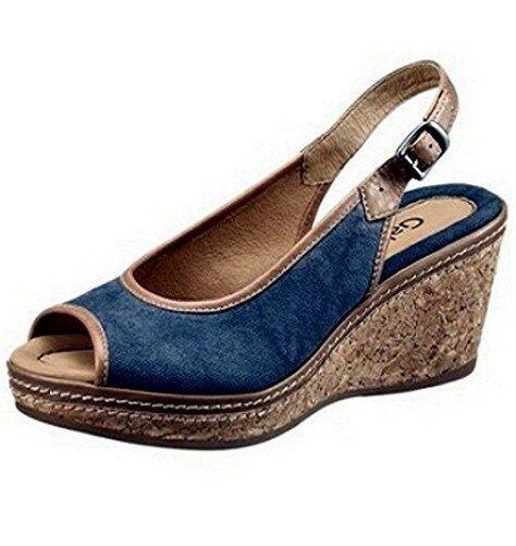 Gabor Sandalo col tacco alto Gr. 4-8 Scarpe Donna Pelle blu-marrone Sughero