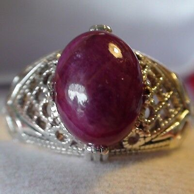 8.60 ct NATURAL! UNHEATED/UNTREATED RUBY  RING 925 STERLING SILVER.SIZE 7.25.