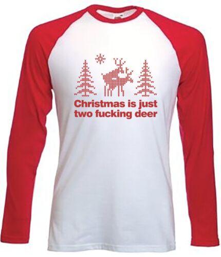 FUNNY JOKE RUDE XMAS SANTA CHRISTMAS IS JUST TWO F*CKING DEER BASEBALL T-SHIRT