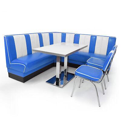 AMERICAN DINER Sitzgruppe XXL Blau 2 Dinerbänke + Ecke +2 Retro Stühle + Tisch