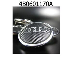 4x-69mm-Audi-Schwarz-Carbon-Nabendeckel-Felgendeckel-4B0601170A-NEU