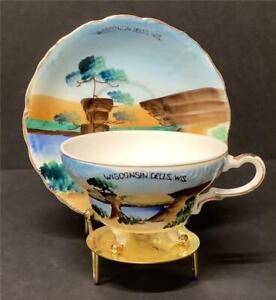Vintage WISCONSIN DELLS SOUVENIR TEACUP & SAUCER porcelain 3 toed tea cup