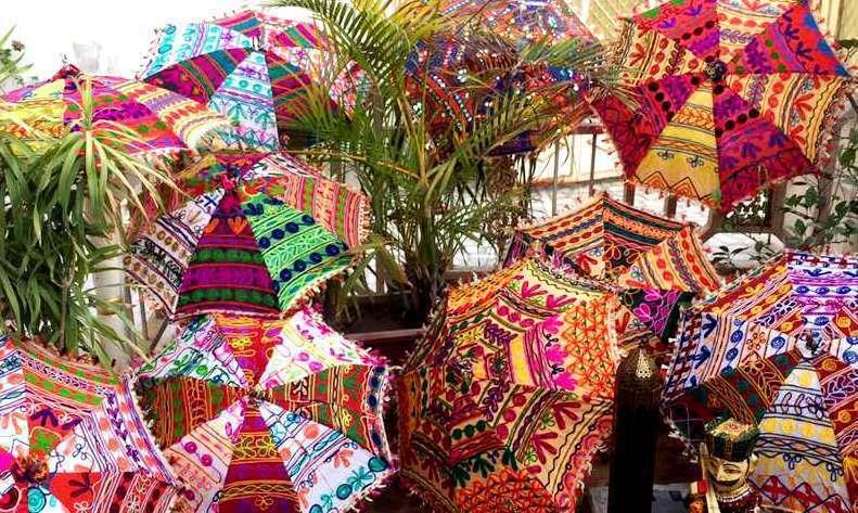 Wholesale 5Pc Wedding Party Indian Art Handmade Parasol Vintage Ethnic Umbrellas