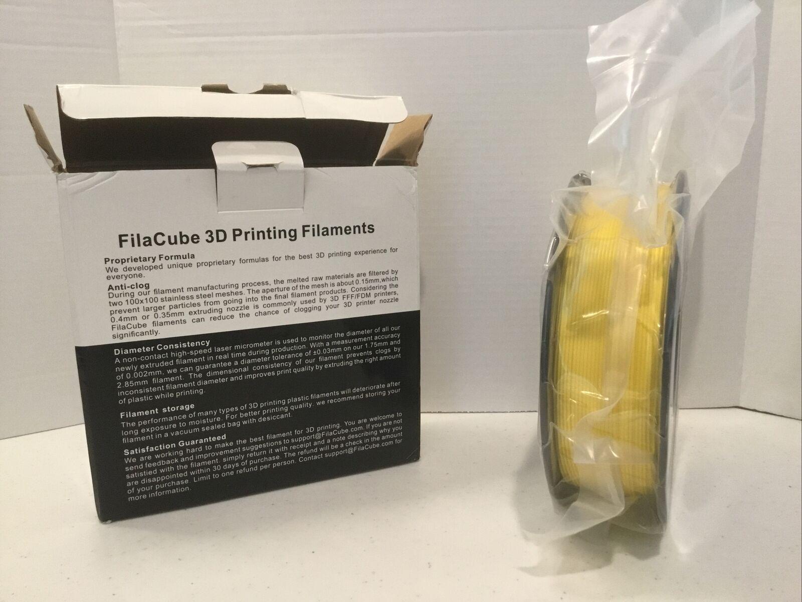Yellow PLA 3D Printer 1.75mm Filament - FilaCube 1kg PLA 2 (PLA 2nd Gen) - NOB