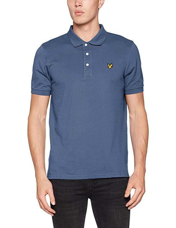 Lyle & Scott Vintage Polo T Shirt Short Sleeve Pique Indigo Blau Ship Worldwide
