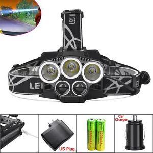 40000-LM-5X-XM-L-T6-LED-USB-Headlight-Torch-Lamp-18650-Battery-AC-Charger-US-PE