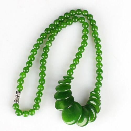 Chinese natural hand engraving jades bead Jade Necklace /& Pendant