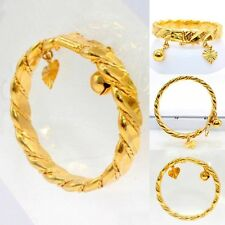 Gold Plated Bell Heart Bracelet Children Boys S Baby Kids Jewelry Bangle