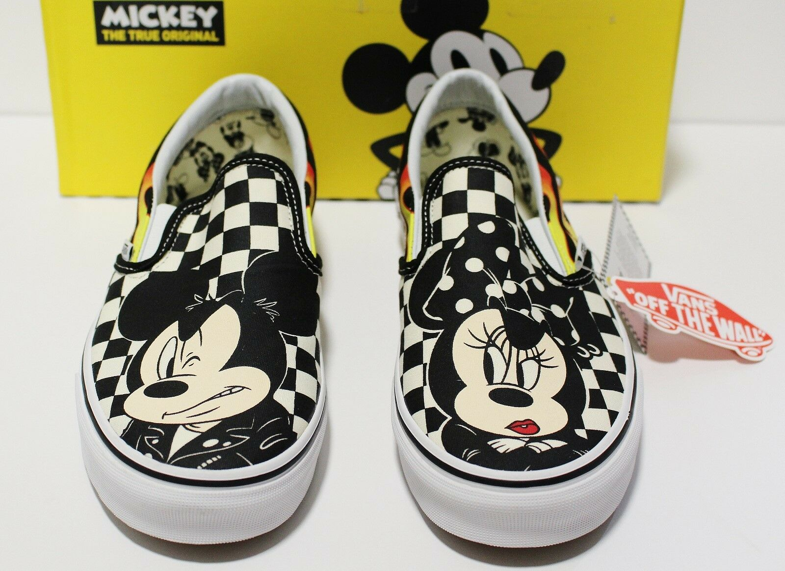 Vans X Disney Classic Slip On Mickey & Minnie Checker Men's Size 10 ()