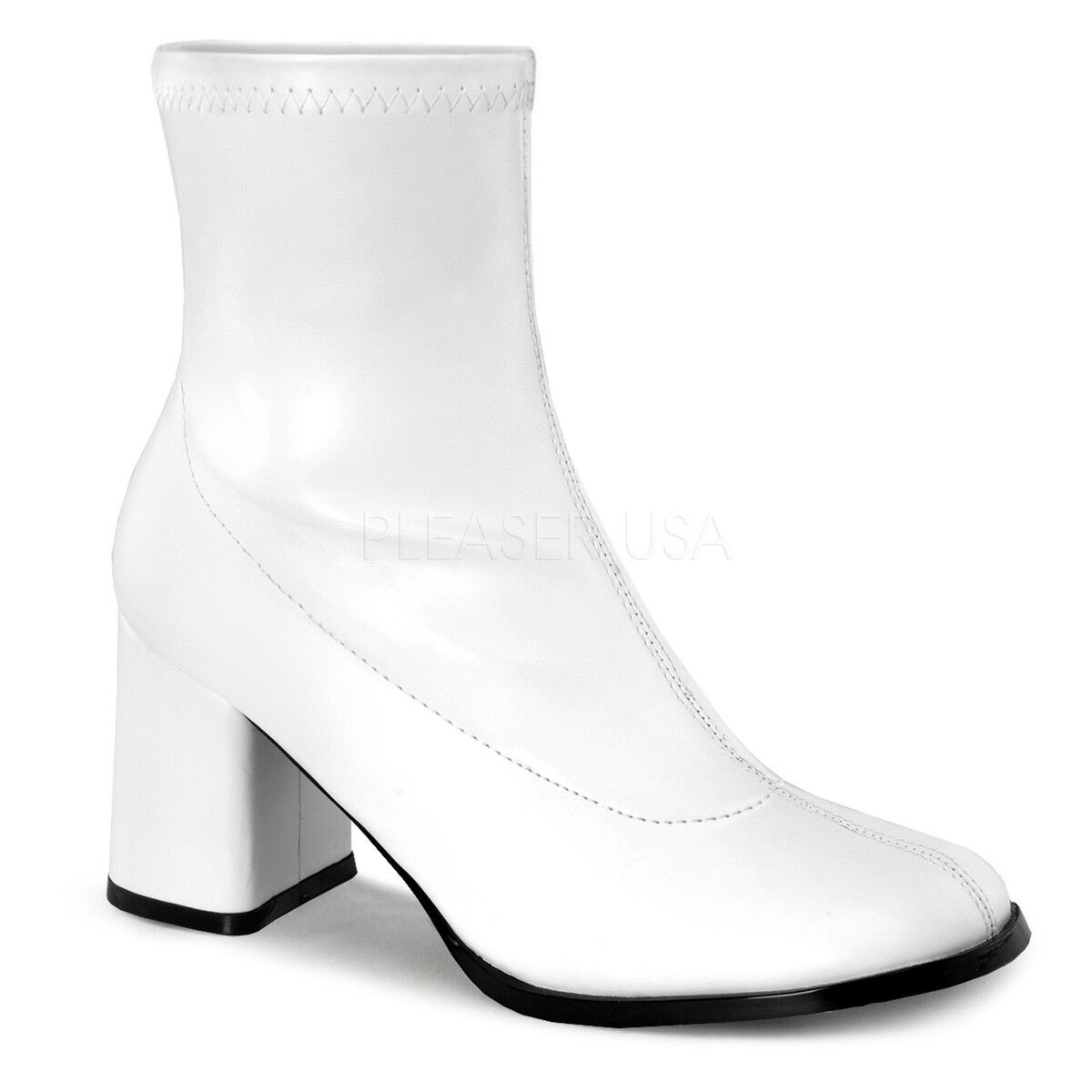 GOGO150 WPU Sexy 3  Heel Gogo Dancer White Ankle Boots Halloween Costume shoes
