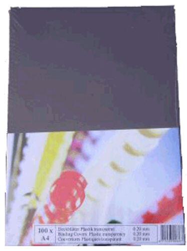 Deckblatt in vielen Ausführungen Bindefolie Bindedeckblatt 100 Klarsichtfolien