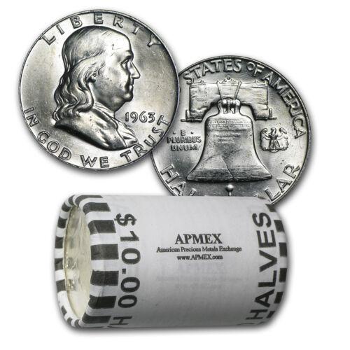 SKU #26360 90/% Silver Franklin Halves $10 20-Coin Roll BU