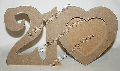 Free standing NUMBERS & HEART photo frame craft shape MDF 18mm thick