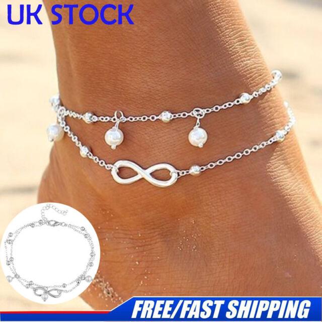Women Ankle Bracelet 925 Sterling Silver Anklet Foot Chain Boho